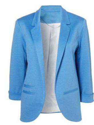 Blue Boyfriend Ponte Rolled Sleeves Blazer $29.49