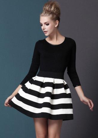 Black White Striped Three Quarter Length Sleeve Stripe Dress $20.33