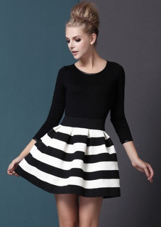 Black White Striped Three Quarter Length Sleeve Stripe Dress $20.33
