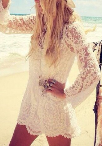 Crochet Lace Dress - Beige $30.00 USD
