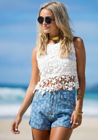 Floral Crochet Tank - White $25.00 USD