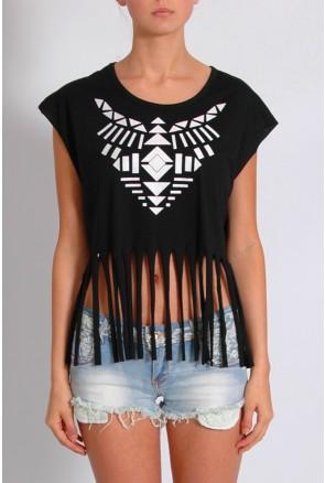 Black Fringe Aztec Print T-Shirt £20.00